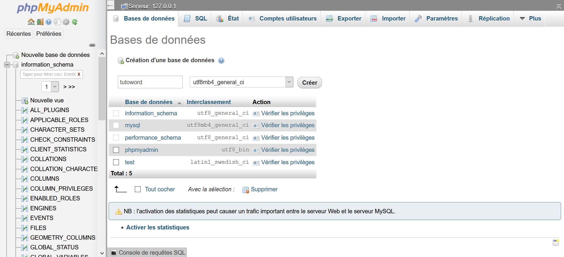 Création d'une BDD dans PHPMyAdmin